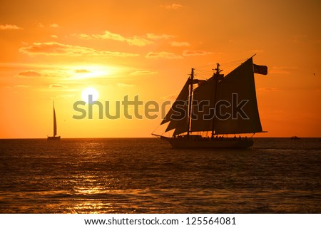 Key West Sunset and sailing boat, Key West, Florida, USA - stock photo