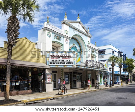 KEY WEST, USA - AUG 26, 2014: Key West cinema theater Strand in Key West, Florida, USA, It is a historic cinema but still in use.