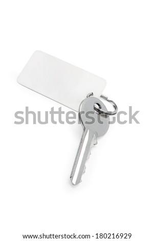 key with a label on a white background isolated