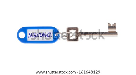 Key with blank label isolated on white background, insurance