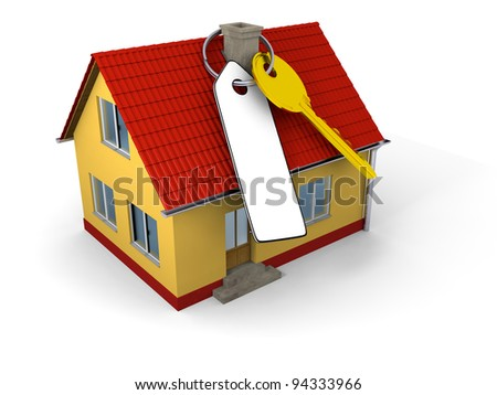 Key with blank tag on small family house