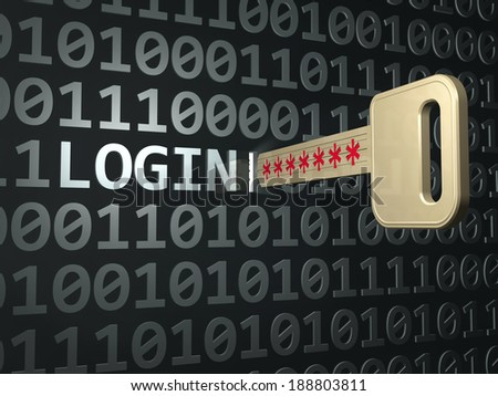 Key with code. Security password concept    - stock photo