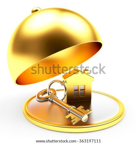 Key with house on golden tray with open lid isolated on white background