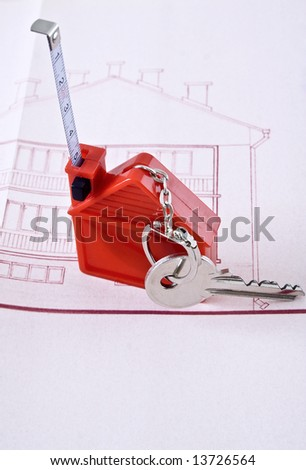Key with house shaped tag - stock photo
