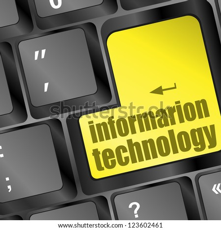 key with information technology text on laptop keyboard, raster - stock photo