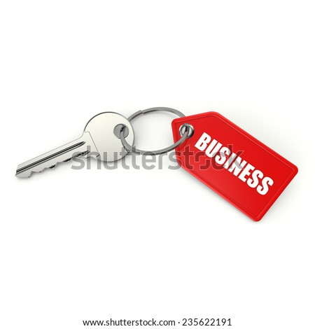 Key with red business shield on white background - stock photo