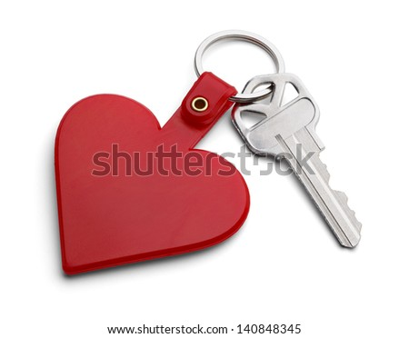 Key with Red Heart Key Chain Isolated on White Background. - stock photo
