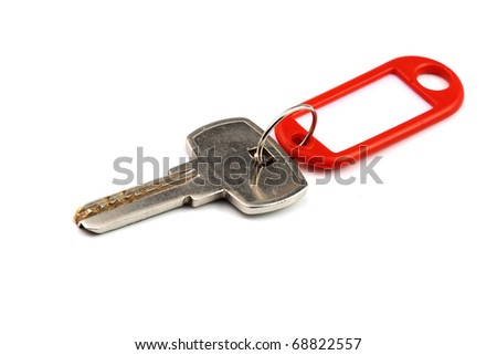 key with red nameplate