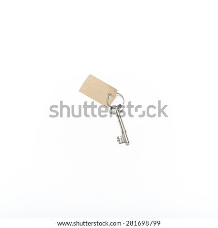 key with tag isolated on white background - stock photo