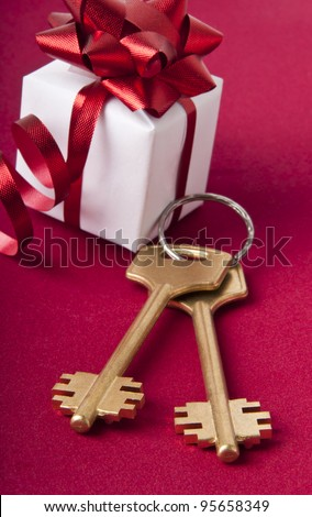Key with  the gift box. House key on a red background. - stock photo