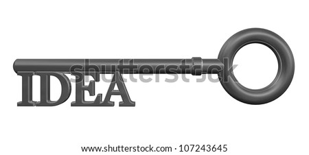 key with the word idea - 3d illustration