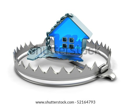 Key with trinket-house on bear trap - stock photo
