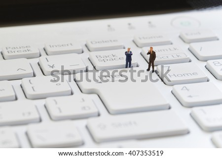 Keyboard and businessmen