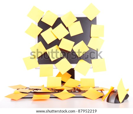 keyboard and monitor with stickers, white background - stock photo
