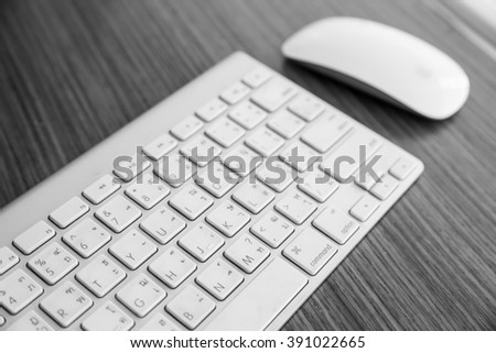 Keyboard and mouse computer in black and white.