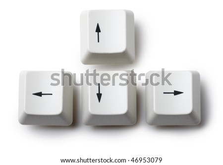 Keyboard arrow cursor keys buttons isolated on white background - stock photo