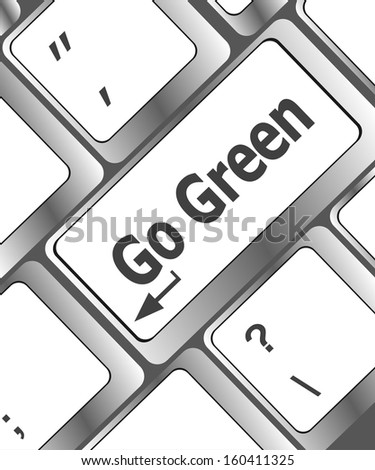 keyboard button, a keyboard with a key reading Go Green, raster - stock photo