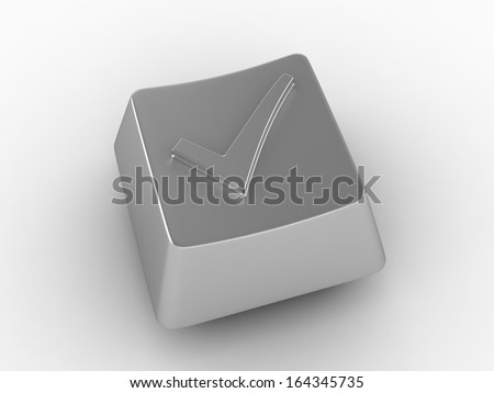 Keyboard button with check mark sign - stock photo
