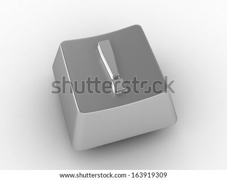 Keyboard Button with exclamation mark - stock photo