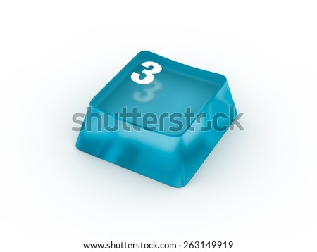 Keyboard button with number THREE - stock photo