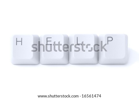 "Keyboard buttons ""help"" isolated on white background - stock photo"