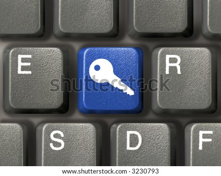 Keyboard (closeup) with blue security key - stock photo