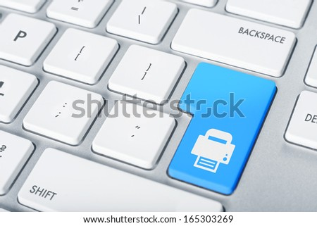 Keyboard concept print button - stock photo