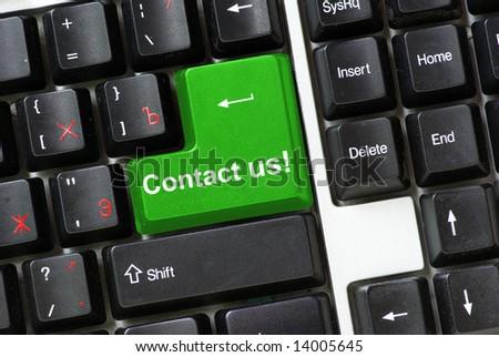 Keyboard   Contact us - stock photo