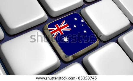 Keyboard (detail) with Australian flag key - 3d made - stock photo