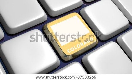 Keyboard (detail) with Colorado map key - 3d made - stock photo