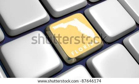 Keyboard (detail) with Florida map key - 3d made - stock photo