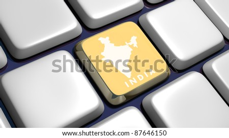 Keyboard (detail) with India map key - 3d made - stock photo