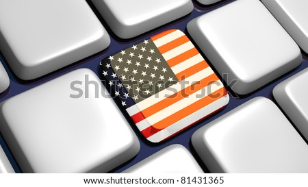Keyboard (detail) with USA flag key - 3d made - stock photo