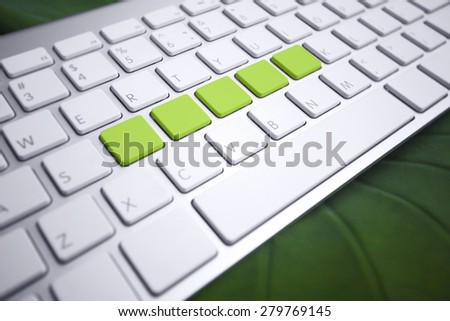 Keyboard - Green button free space for word. - stock photo