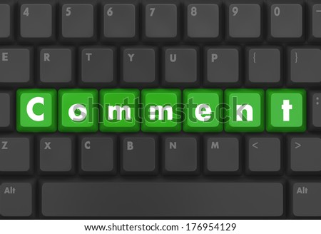 Keyboard  green button showing the word comment - stock photo