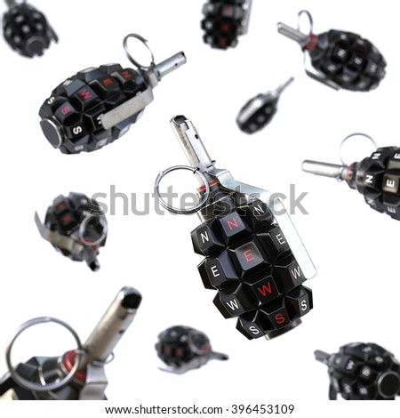 Keyboard grenade concept. Isolated on white background. - stock photo