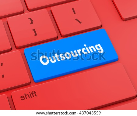 Keyboard Illustration with Outsourcing wording, 3d rendering - stock photo