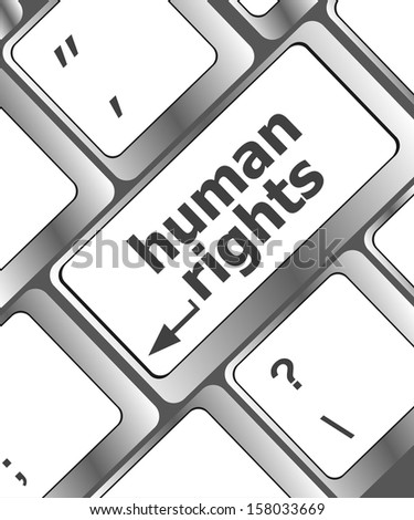 keyboard key, arrow button with human rights word on it, raster - stock photo