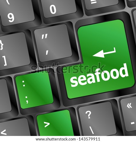 keyboard key layout with sea food button, raster