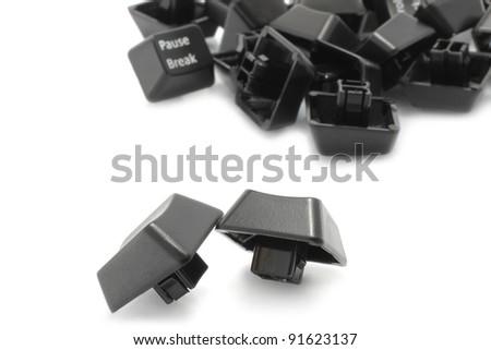 Keyboard keys close-up on a white background - stock photo