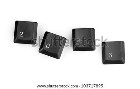 Keyboard keys saying 2013 isolated on white - stock photo