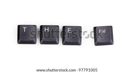 Keyboard keys saying the end isolated on white - stock photo
