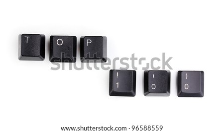 Keyboard keys saying top 100 isolated on white
