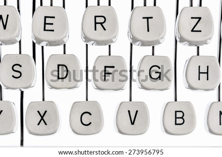 keyboard letters and an old typewriter. symbolic photo for communication in former times - stock photo