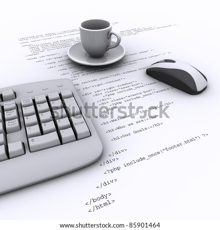 Keyboard, Mouse, an empty cup on the background   program code - stock photo