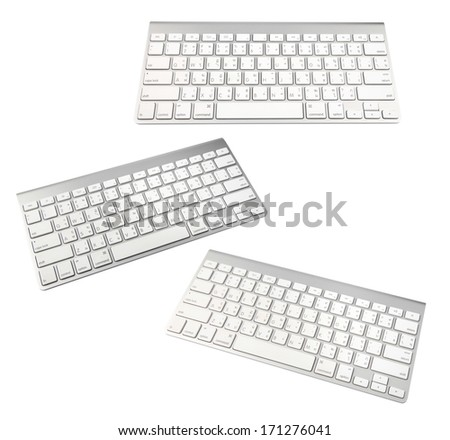 keyboard of a modern laptop isolated on a white - stock photo