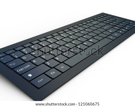 Keyboard of a notebook computer. White and black. - stock photo