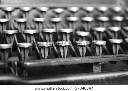 Keyboard of a vintage typewriter in close up - stock photo