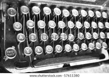 Keyboard of a vintage typewriter in close up - stock photo