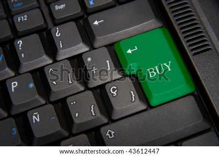 Keyboard of computer with a word buy